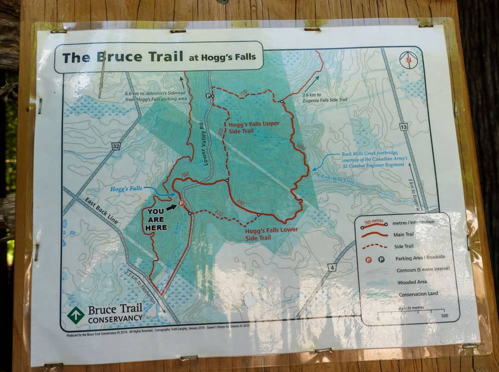 Bruce trail map Hoggs Falls Ontario