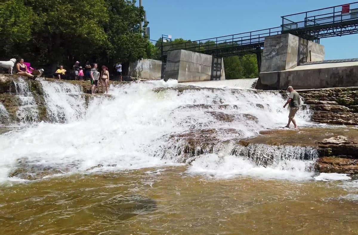 Water gushing over McGowan Falls