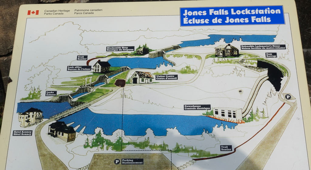 Sign showing buildings at Jones Falls Lockstation