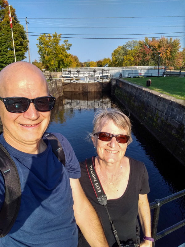Couple standing in front of Merrickville lock