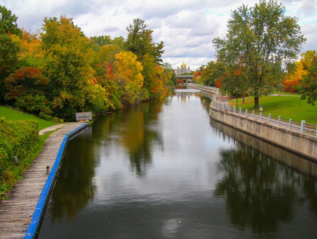 Still water canal with side paths