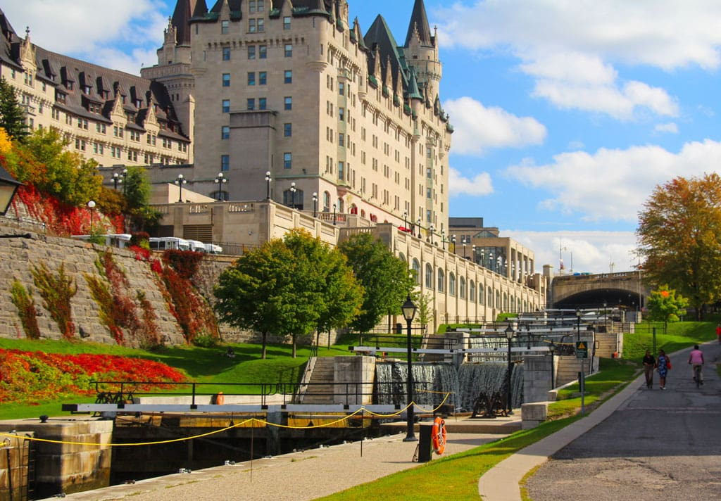 Chateau Laurier behind Ottawa Locks