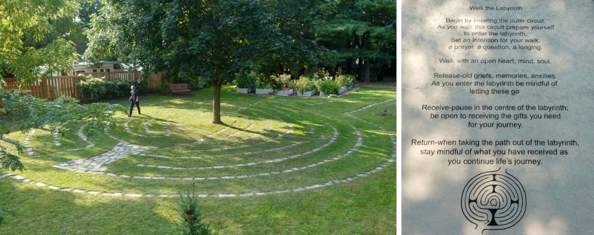 Person walking grass labyrinth Picton Ontario