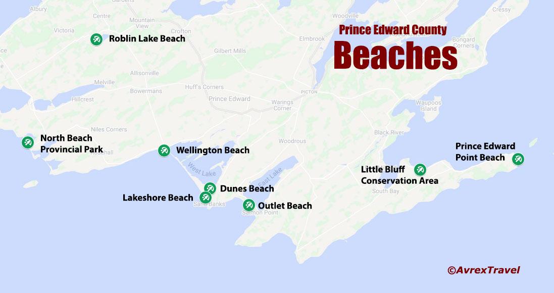 Prince Edward County Beaches Map