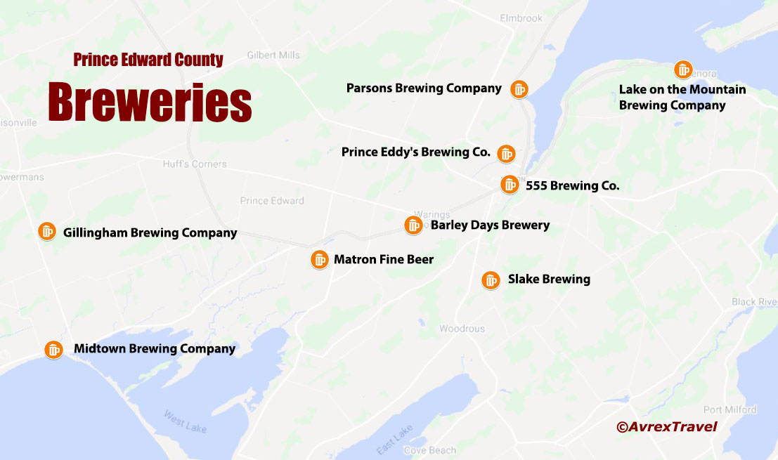 Prince Edward County Breweries Map