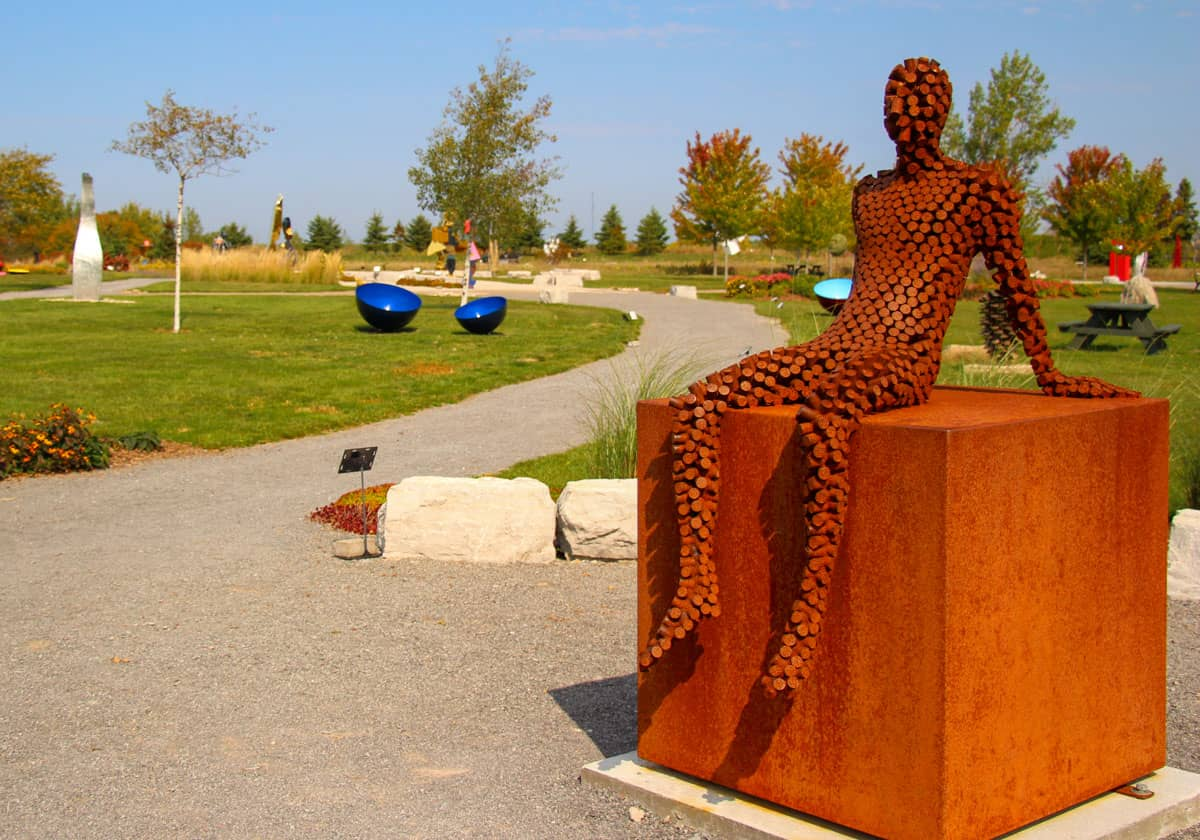 Seated human scuplture Oeno Gallery Prince Edward County