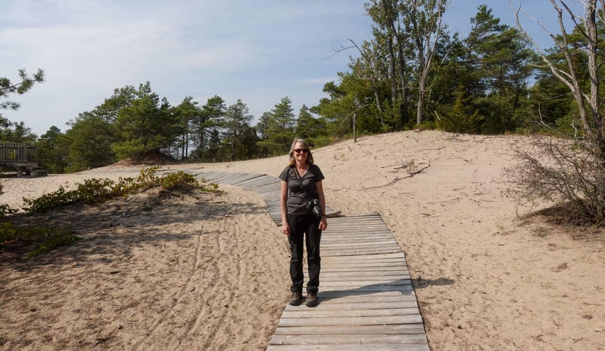 Woman boardwalk Dunes Trail Sandbanks Provincial Park