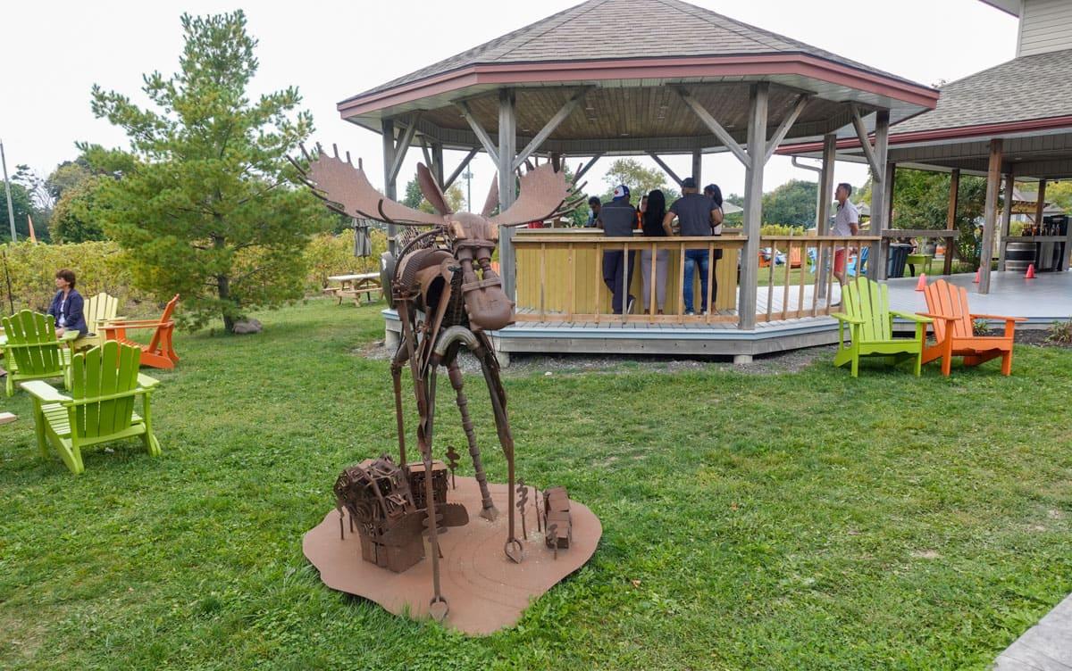 The art and gazebo at Sandbanks Winery
