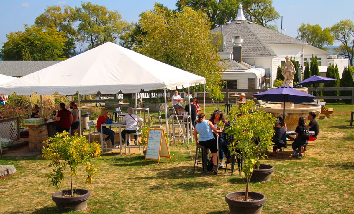 The Outdoor tasting area at Waupoos Estates Winery