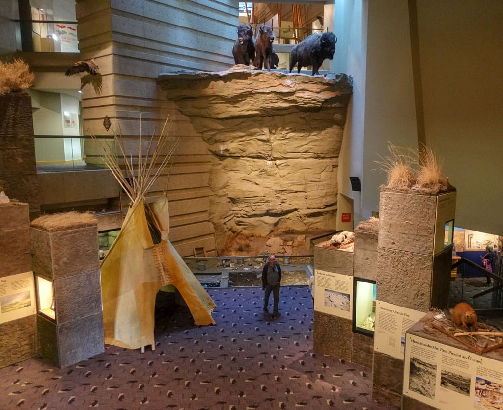Exhibits inside Interpretive Centre at Head-Smashed-In Buffalo Jump
