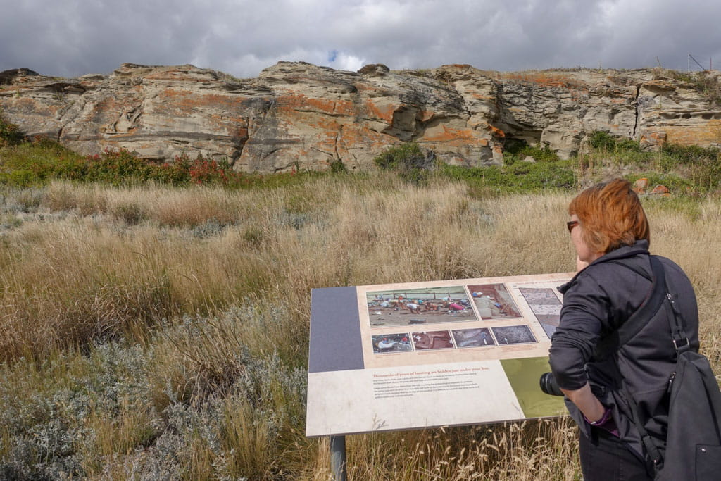 Person studying interpretive panet base of cliff Head-Smashed-In