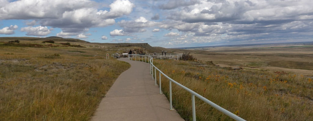 Upper paved path to viewpoint at Head-Smashed-In Buffalo Jump