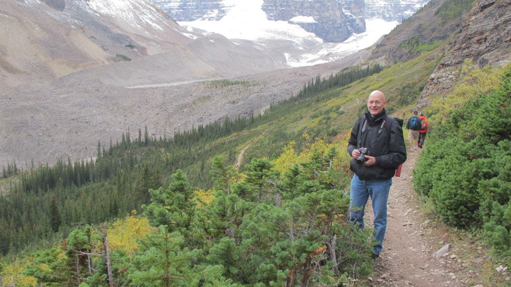 On Highline Trail with Plain of Six Glaciers below