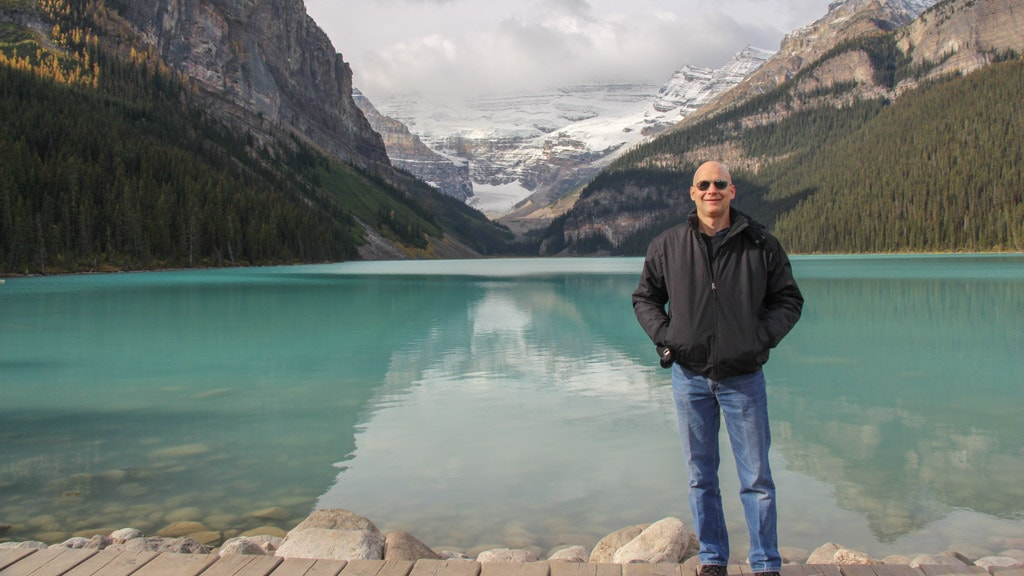 Lake Louise with mountains, glaciers background