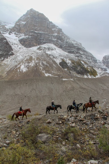 Horseback riders on Plain of Six Glaciers trail