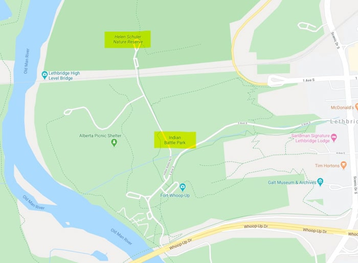 Map showing of Lethbridge Nature Reserve, bridge and Indian Battle Park