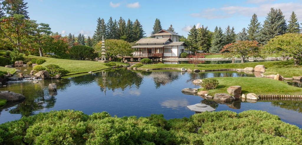Pavilion and pond at Lethbridge's Nikka Yuko Japanese Garden