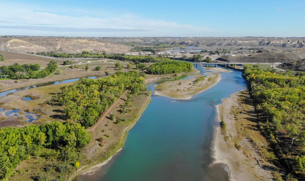 Aerial view of the Oldman River and valley