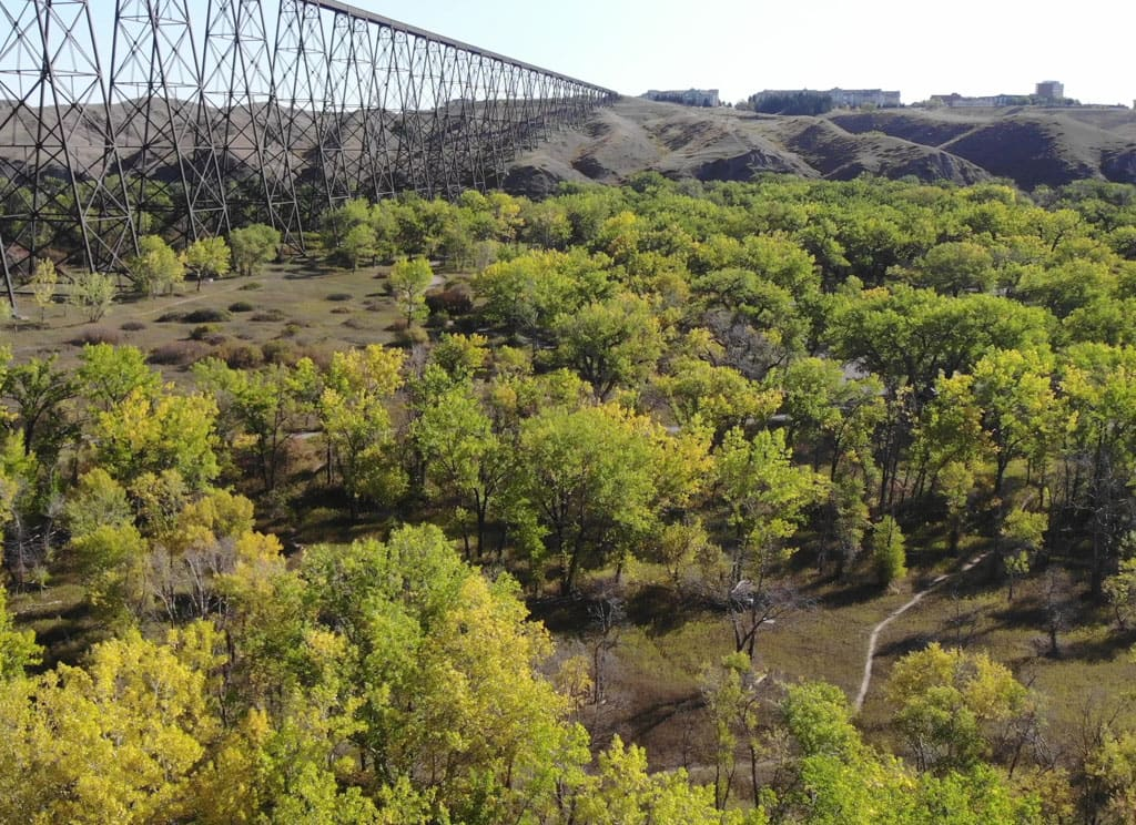 Aerial view of Indian Battle Park trails with bridge in background