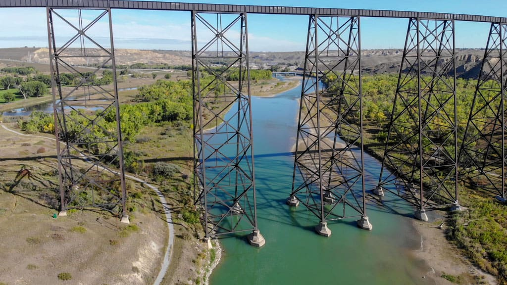 Side on view of Lethbridge Viaduct