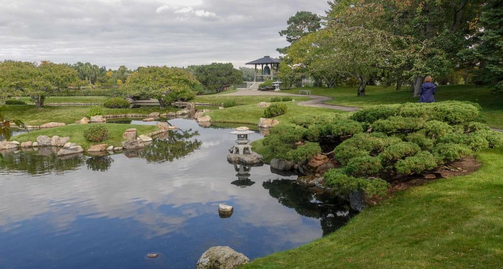 Foreground pond Background paths and bell Nikka Yuko