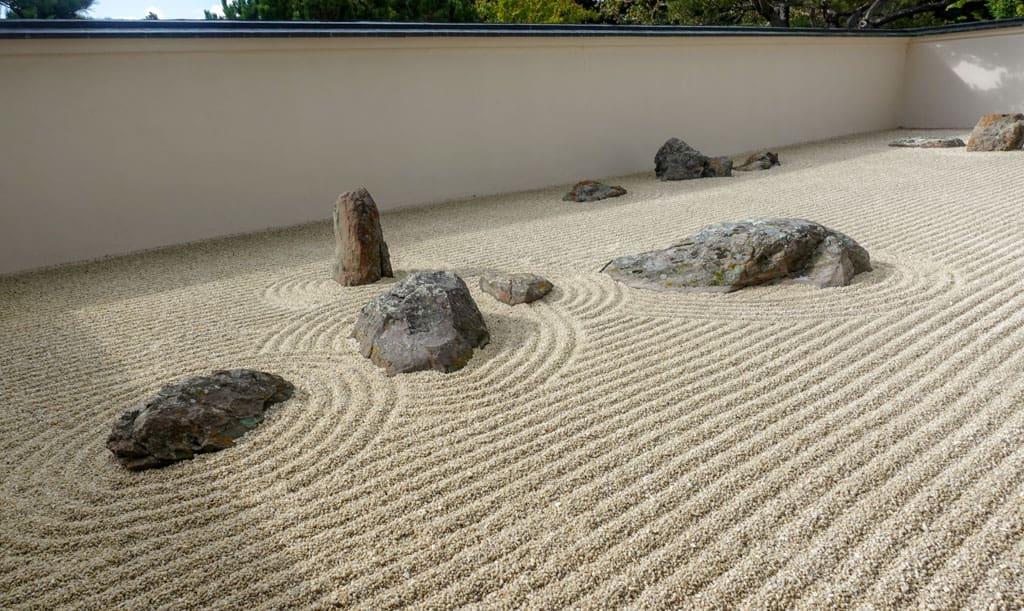 Zen Garden of raked sand, rocks Nikka Yuko Japanese Garden