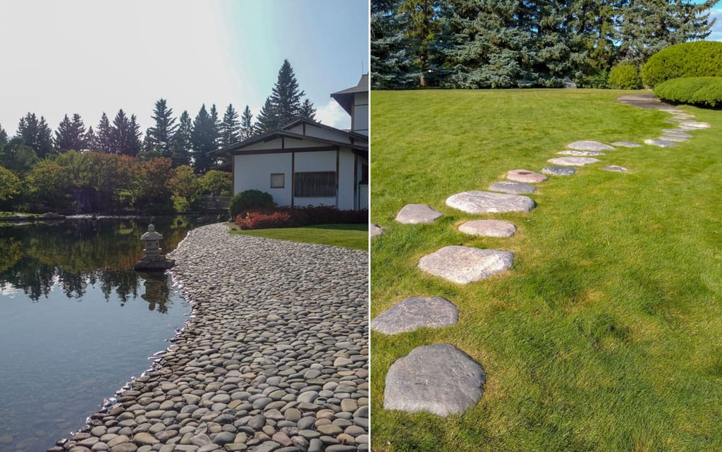 Left stoney beach Right stepping stones through grass prairie area