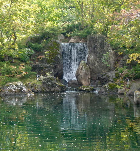 Waterfall reflected in pond Nikka Yuko