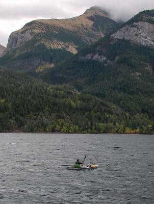 Person kayaking on Uppe Waterton Lake