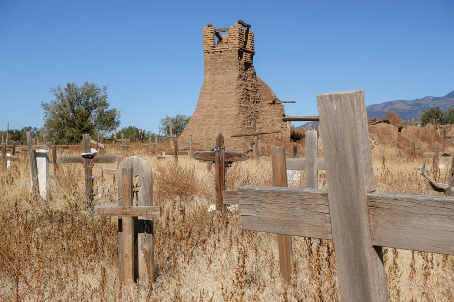 Ruins of the first church are within the cemetery
