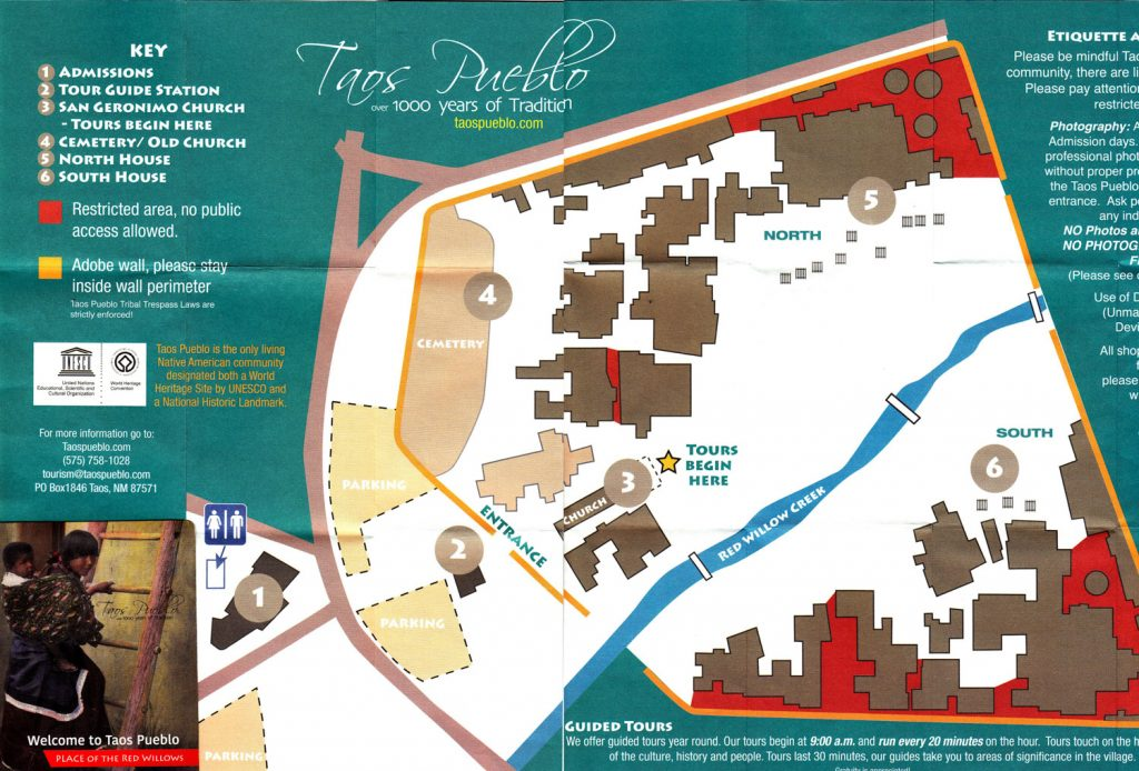 Site map provided upon admission into Taos Pueblo