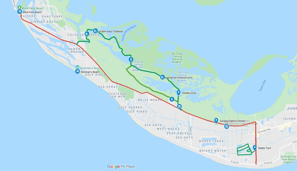 Bike trail map Sanibel Island