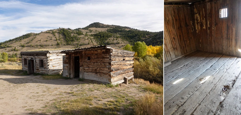 Left Bannack's two jails Right jail interior rings in floor