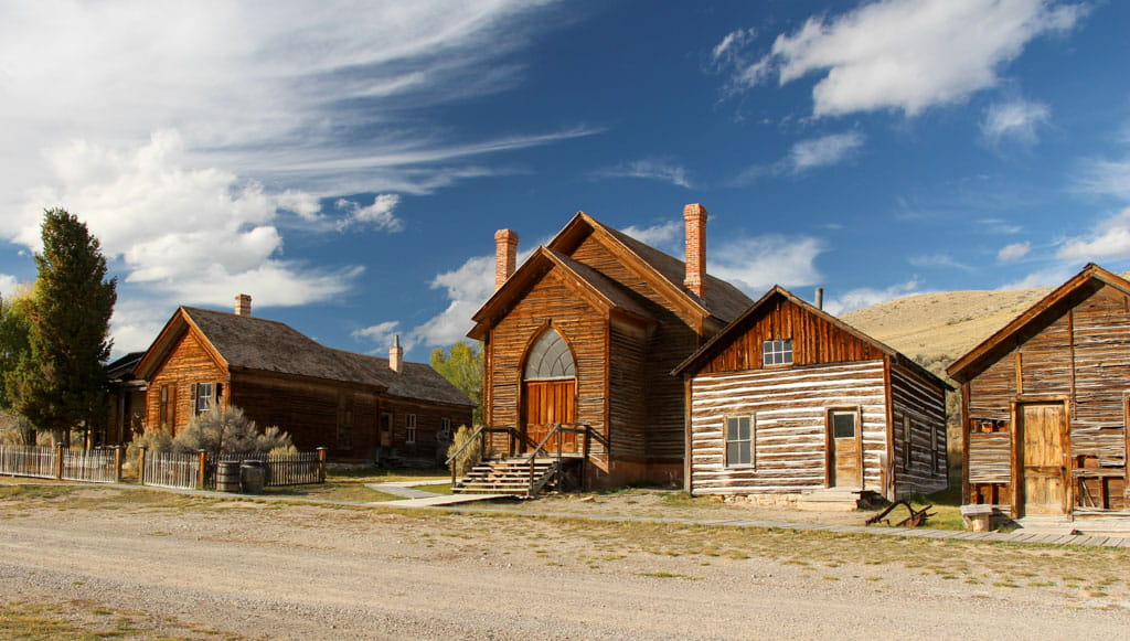 Row of houses with Bannack Methodist Church