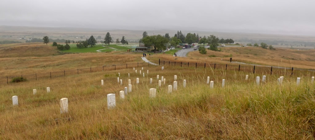 2 Cemetaries from hilltop Little Bighorn Battlefield