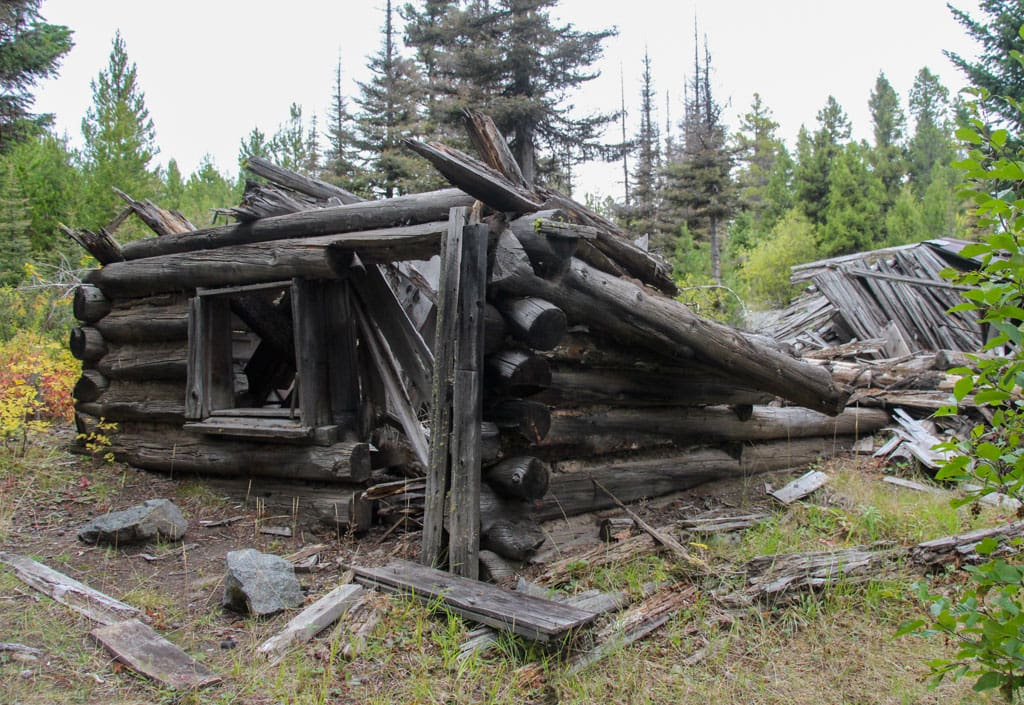 Ruins of cabin in ghost town