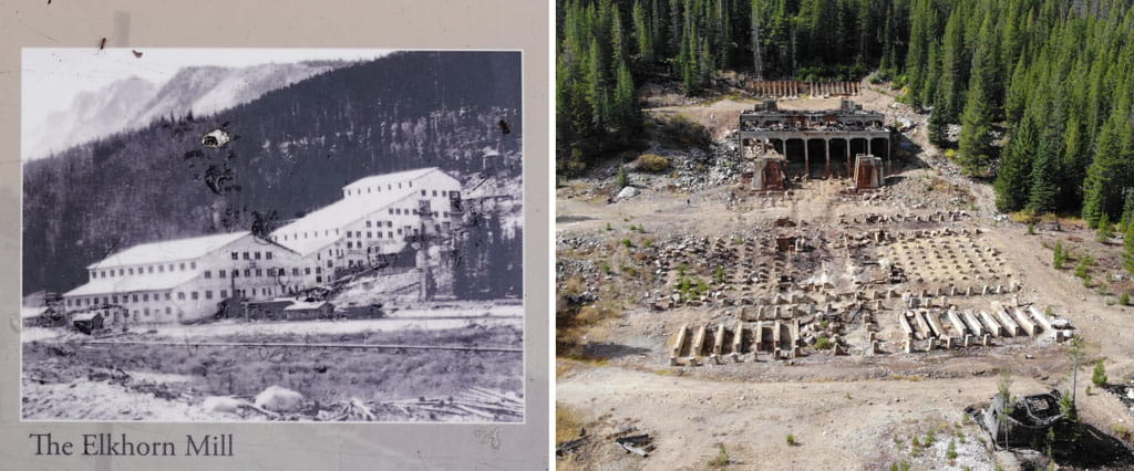 Elkhorn Mill in 1910s and now