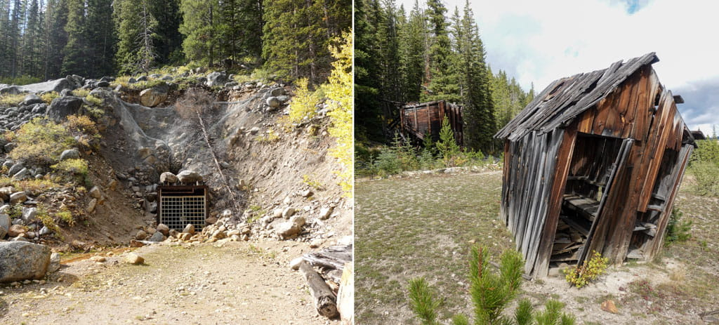Elkhorn Mine entrance and nearby structures
