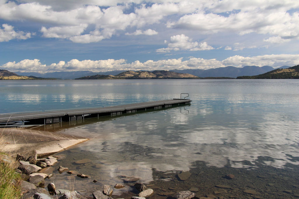 Dock extending into Flathead Lake