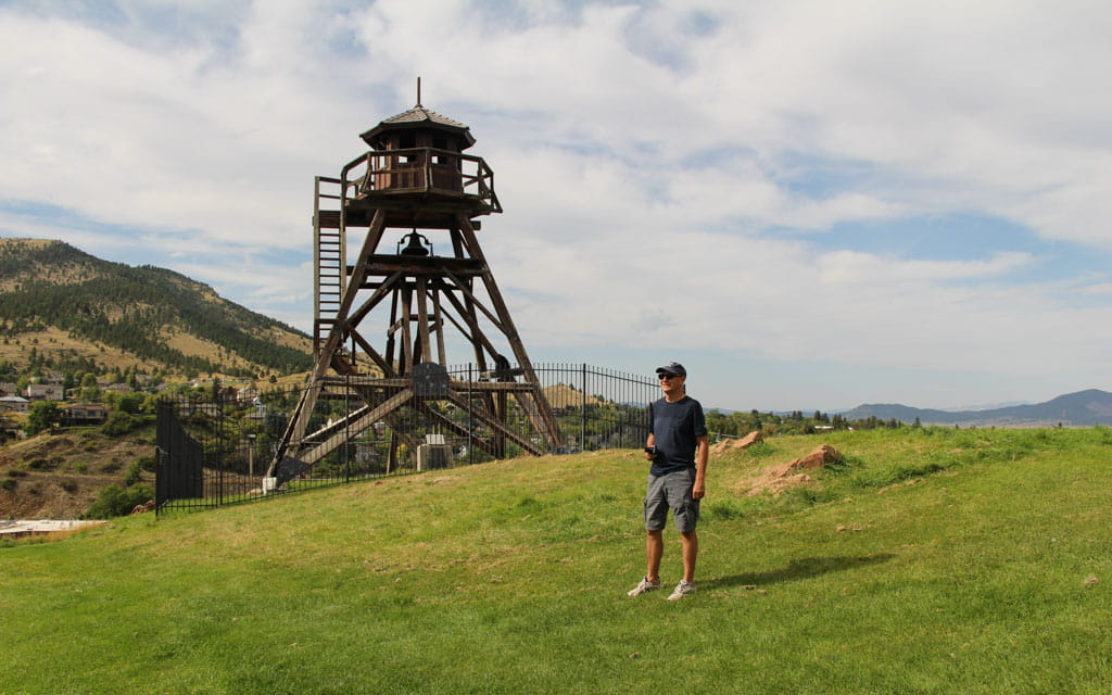 Person with Fire Tower in background Helena