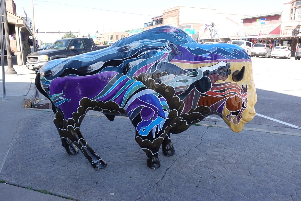 Painted Bison art downtown Custer