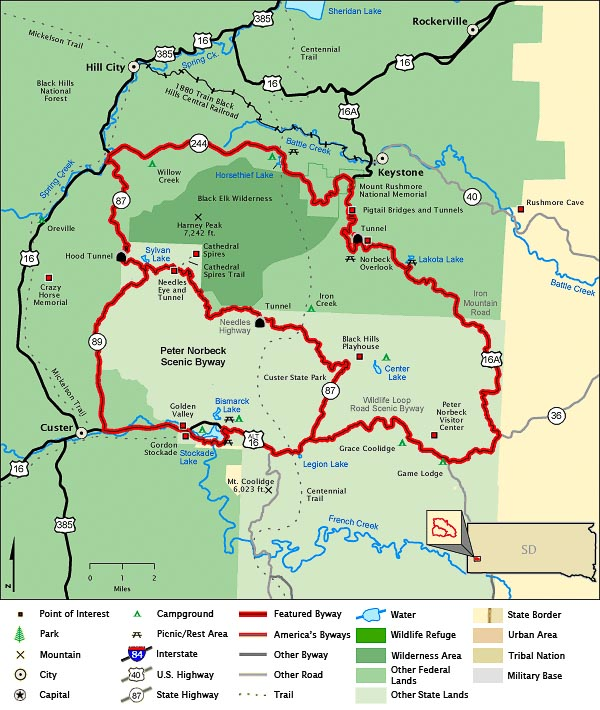 Map of Peter Norbreck Scenic Byway