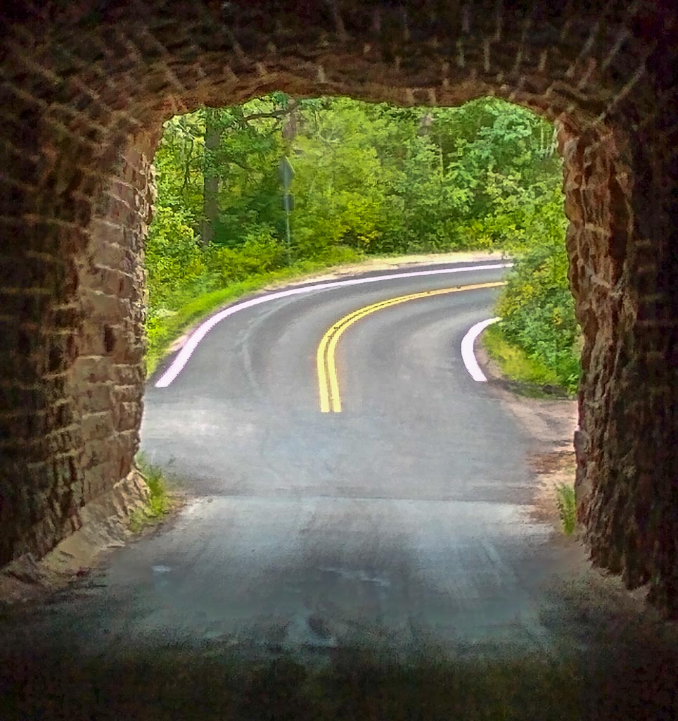 Looking out of Peter Norbreck Scenic Byway Tunnel