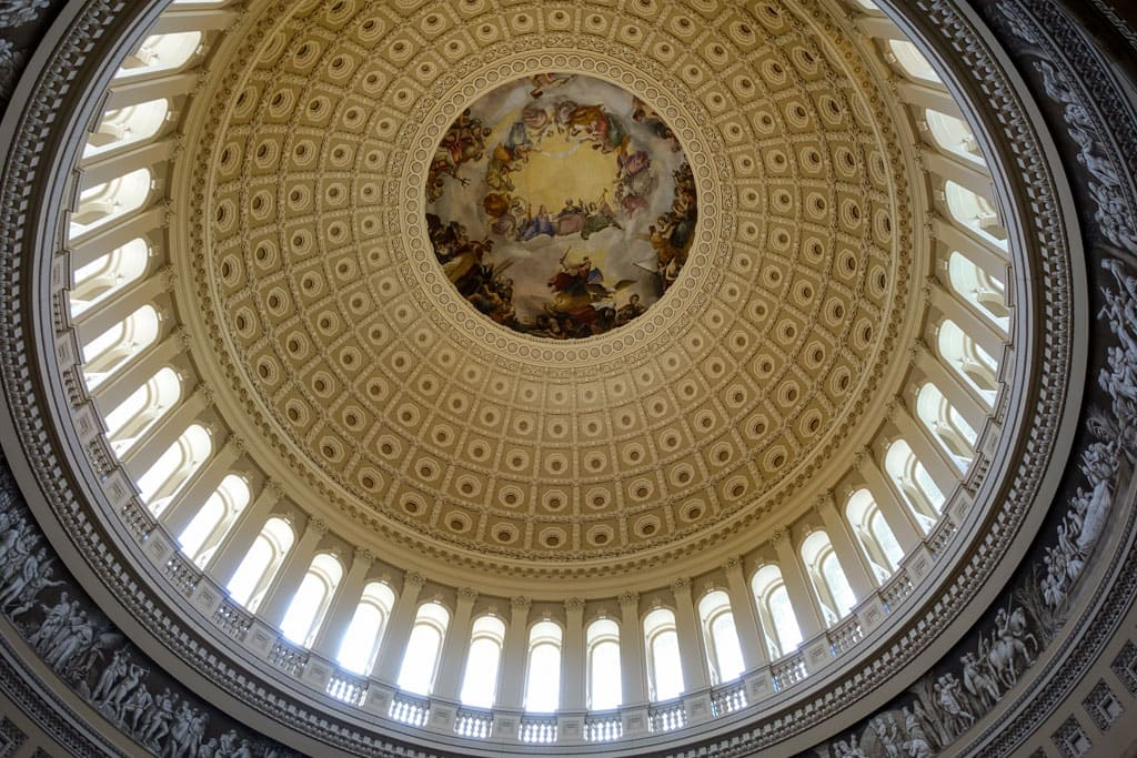 Art and stonework on inside Capitol dome