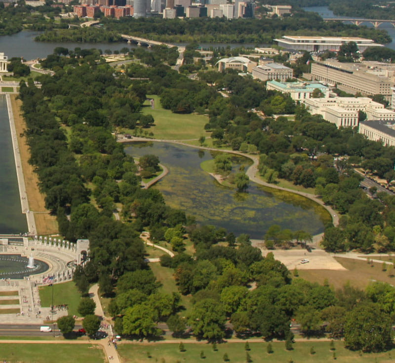 Aerial view lake Constitution Gardens Washington DC
