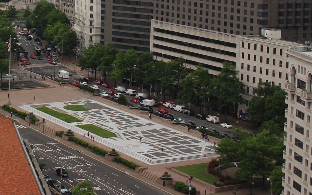 Aerial view Freedom Plaza Washington DC