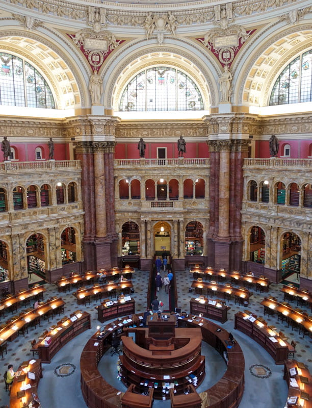 Overhead view of main reading room Library of Congress