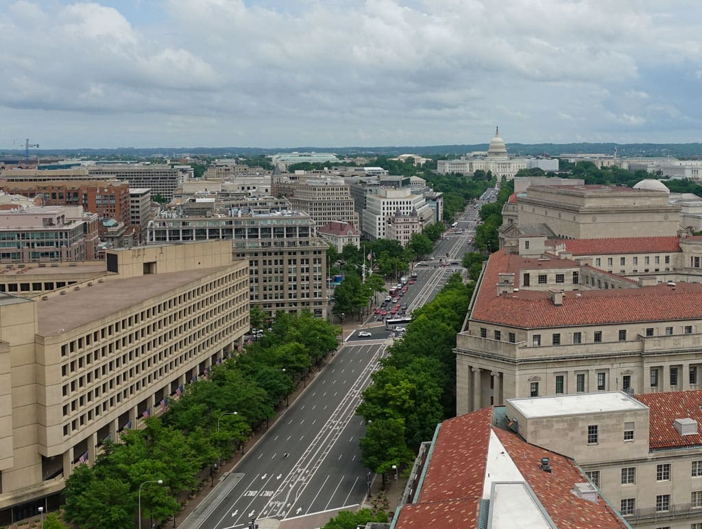 Aerial view Pennsylvania Ave Washington DC