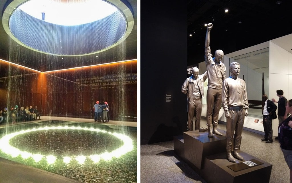 Indoor waterfall and statues of Black power salute