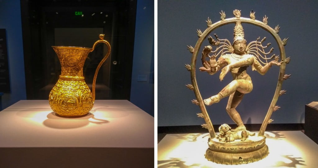 Gold Ewer and bronze god Shiva Smithsonian Asian Art